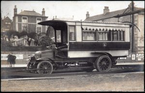 1905 Stroud's first motor bus arrives by rail