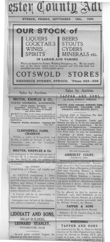 1936 adverts Glos county advertiser