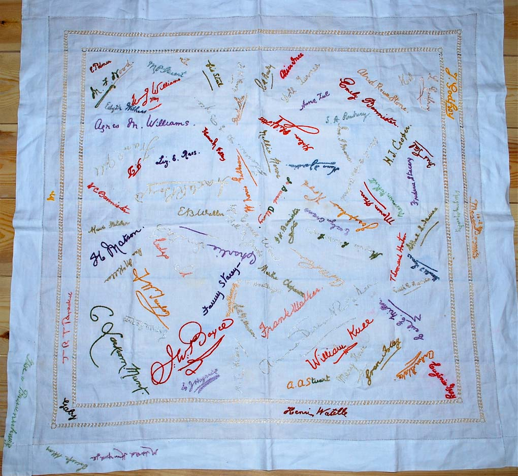 Wood signed tablecloth