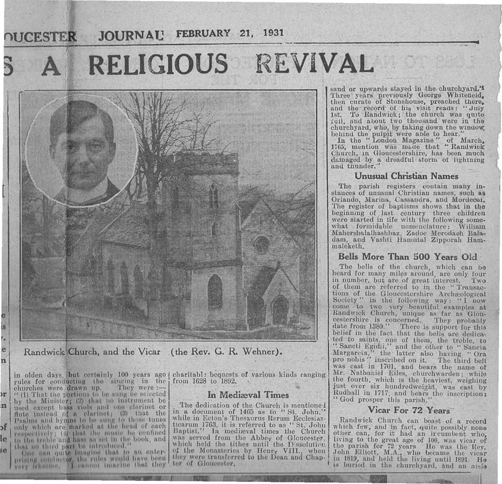 1931_02_21 Gloucester Journal Randwick church-3