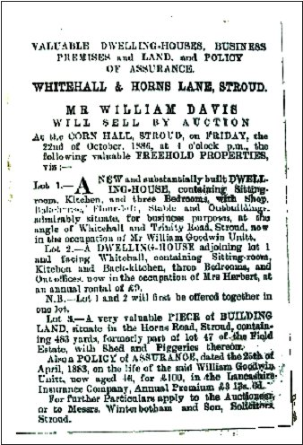 Whitehall bakery 1886 auction