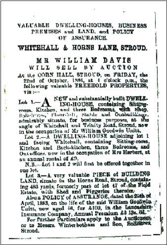 Whitehall bakery 1886 auction