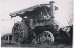 The Burrell 4010 engine seen in the yard of its last commercial operator, threshing contractor 'Chapman Bros' of St Wenn, Cornwall . The picture dates from around the late 1940, the engine by this time had lost its belly tanks, motion screens and large front wheels, these being replaced by much smaller Marshall wheels